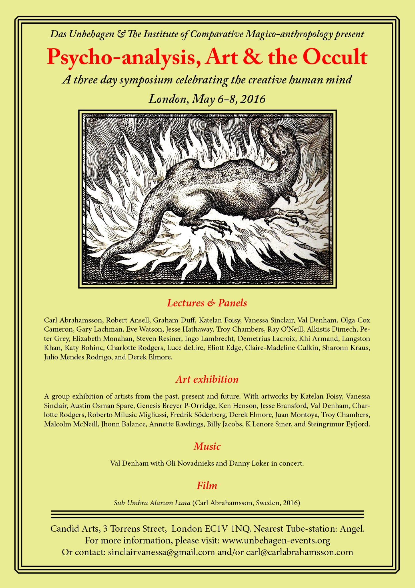 Symposium Psychoanalysis Art The Occult Das Unbehagen